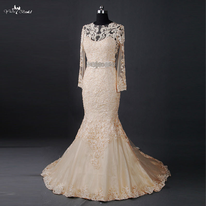 RSW817 See Through Back Long Sleeve Mermaid Venice Lace Champagne Wedding Dress