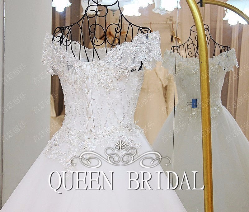 Custom Made Tulle Lace Beading Sequins Vintage A line Ivory Wedding Dress 2019 Vestido De Novia QUEEN BRIDAL Dress GW6