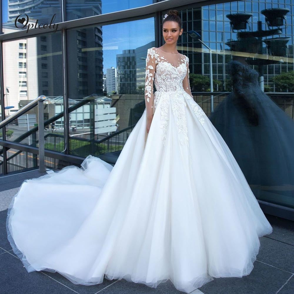 Optcely High Quality Elegant Ball Gown O-Neck Long Sleeve Wedding Dress 2019 Appliques Beaded Court Train Bridal Gown Customized