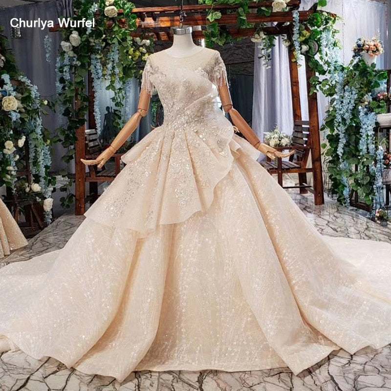 HTL794 special wedding dresses long train appliques bead o-neck short sleeves wedding gown find store vestidos de noiva princesa