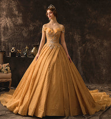 Maternity Luxury Champagne Gold  Wedding Dresses Long Train Sweetheart Elegant Plus size Vestido De Noiva Bride Gown Bridal