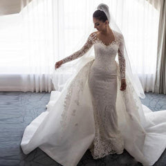 Detachable Train Mermaid Long Sleeve Tulle Lace Beading Appliques Sexy Luxury Wedding Dresses Formal Bridal Gown SV04