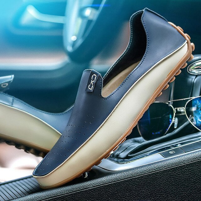 Big Size 38-47 Men Loafers Comfortable Men's Flats Top Quality Luxury Brand Leather Mens Shoes Summer Breathable Driving Shoes
