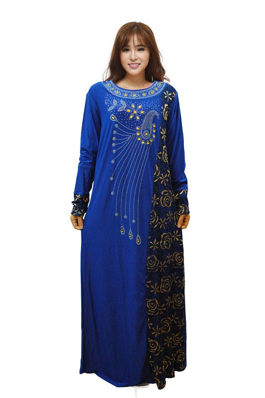 Fashion Women Rhinestone Lace Muslim Arab Maxi Abaya Dress Islamic Kaftan Jibab Long Clothes garment free shipping