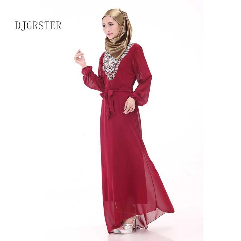 DJGRSTER Women's Maxi Long sleeve long Dress moroccan Kaftan Caftan Jilbab Islamic abaya Muslim Turkish Arab arabic Robes gown