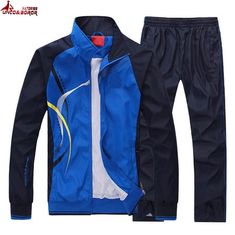 UNCO&BOROR women Men Sportswear Suit Autumn Spring jacket Men set Tracksuit outwear brand-clothing man sportsuit hoodies+pant