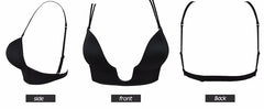 Women Deep Plunge U shape Bras Sexy Seamless blackless Adjustable Convertible Straps Push Up women's Bra for formal dress