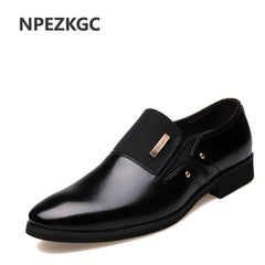 NPEZKGC Men Dress Shoes Slip-on Black Oxford Shoes For Men Flats Leather Fashion Men Shoes Breathable Comfortable Zapatos Hombre