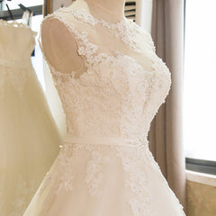 SL-1 New Arrival A-Line Sleeveless Tulle Lace Appliques Vintage Wedding Dress Boho