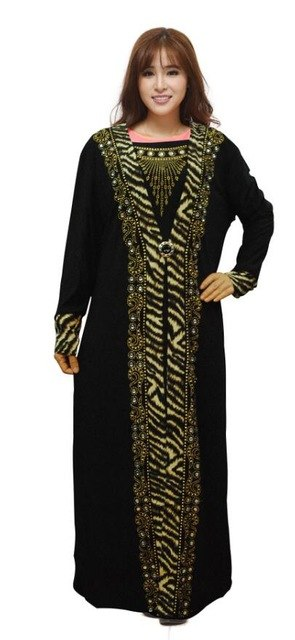 Women Lady Clothes Muslim Islamic Arab Maxi Dress Long Full Length Black Hot Drilling Kaftan Jibab Abaya Clothes Turkey Robe
