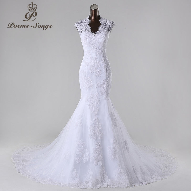 PoemsSongs2019New style high quality custom made mermaid wedding dress white ivory vestido de noiva brides dress ball gown