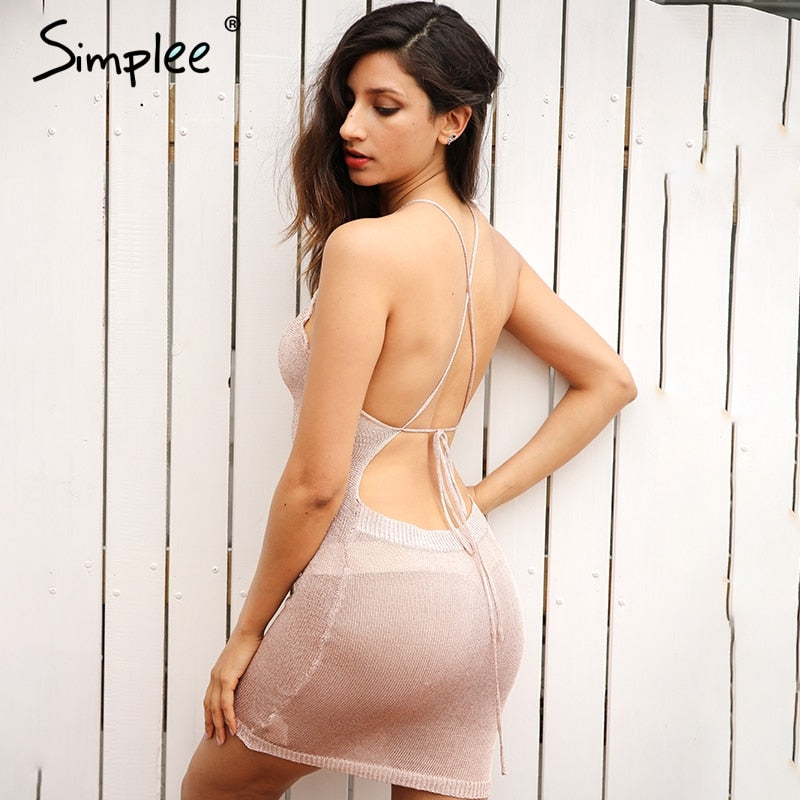 Simplee Sexy backless knitted summer dress robe Women hollow out bow slim bodycon dress Evening party club short dress vestidos