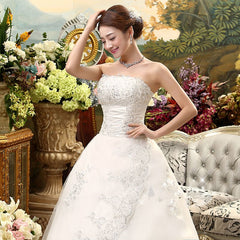 HOT Free shipping white Train wedding dress 2015 plus size fashionable Vestidos De Novia Cheap Wedding Gowns Bride Frocks XXN001