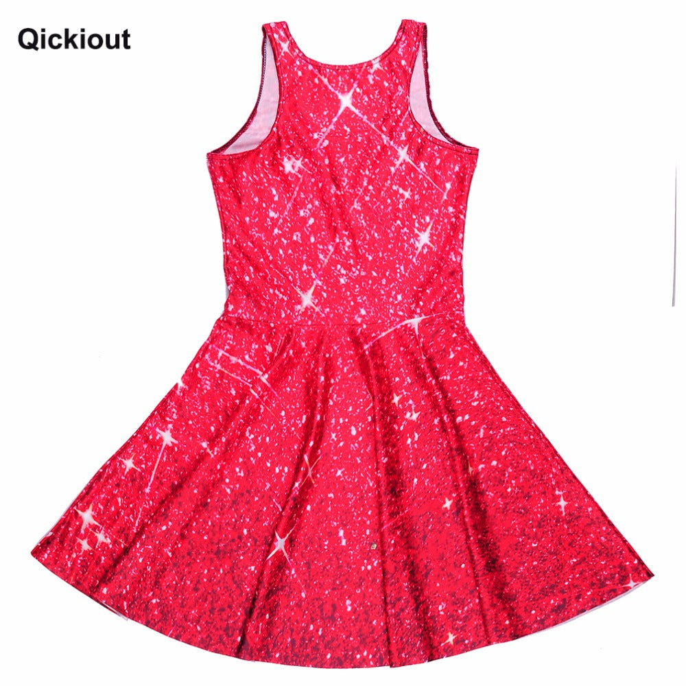 Qickitout Dress Hot Product New Women's Red Star shining Galaxy Dress Digital Printing SKATER DRESS Vestido Plus Size