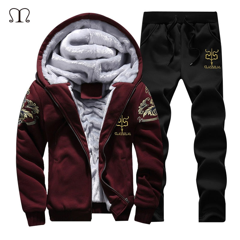 New Winter Men Set Fashion Brand Fleece Lined Thick Tracksuit + Pants Male Spring Warm Hooded Sporting Suit Mens Sportswear
