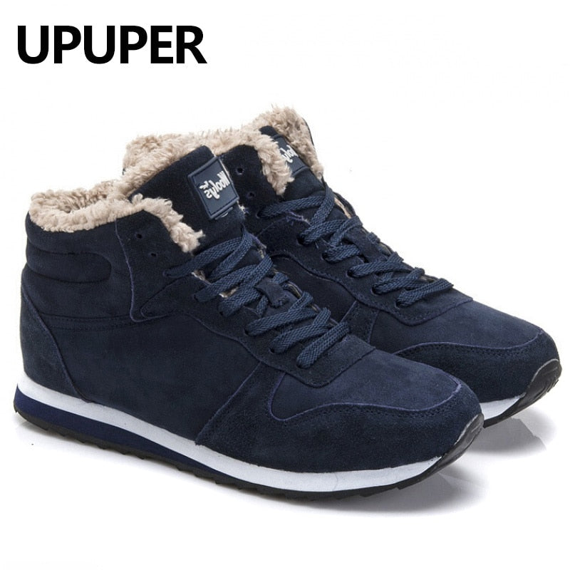 Plus Size Winter Men Sneakers Genuine Leather Winter Warm Plush Men Casual Shoes Outdoor Unisex Sport Shoes For Men Blue Black
