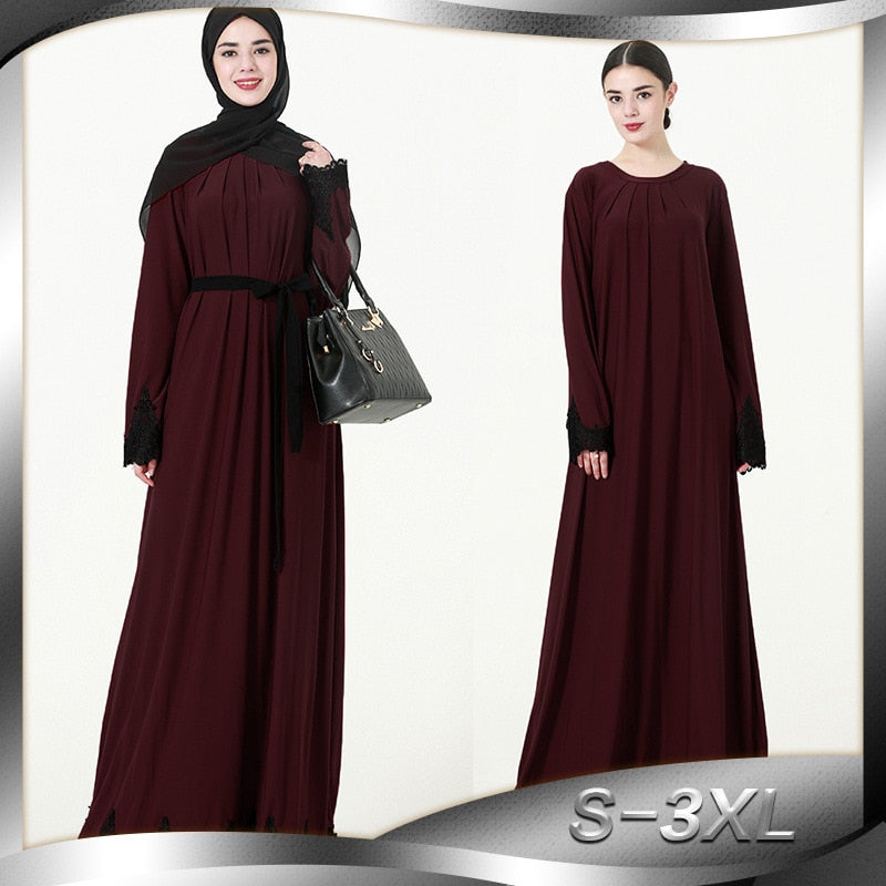 2018 Women Muslim Dress O Neck Long Sleeve Appliques Patchwork Plus Size 3XL Abaya Jilbab Dubai Turkish Clothes for Muslim Women