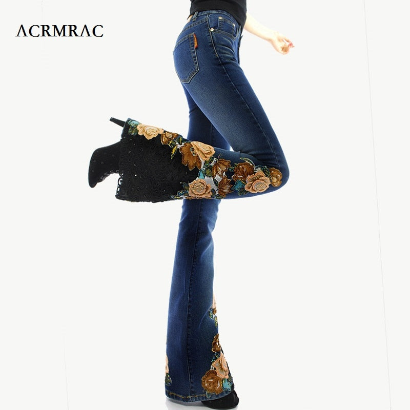 ACRMRAC woman embroidery Beads micro folk-custom Lace edge High waist Elasticity Slim Thin Flare Pants jeans Women