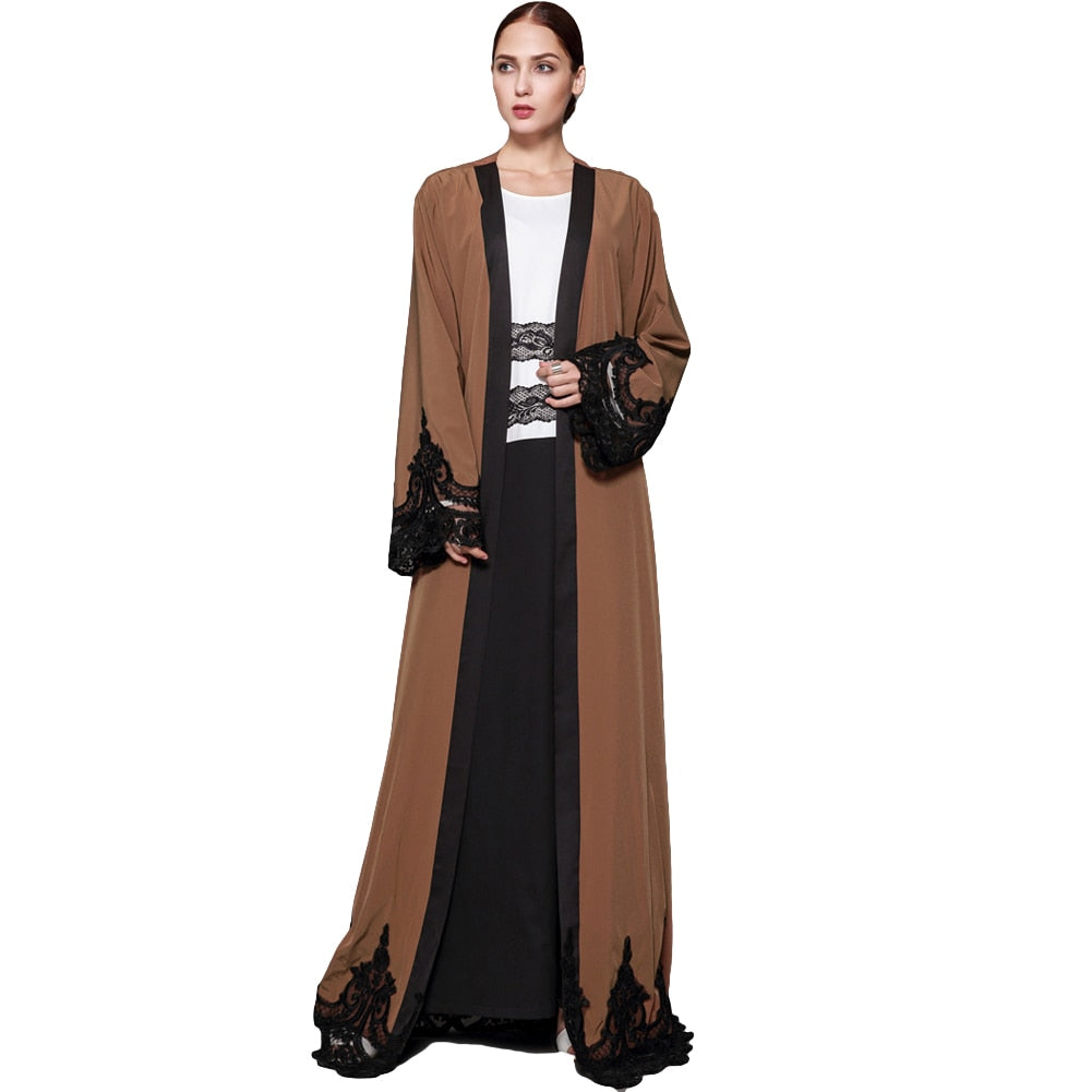 2018 New Fashion Women Muslim Cardigan Spliced Crochet Lace Long Wide Sleeve Islamic Abaya Maxi Dress Outwear Brown