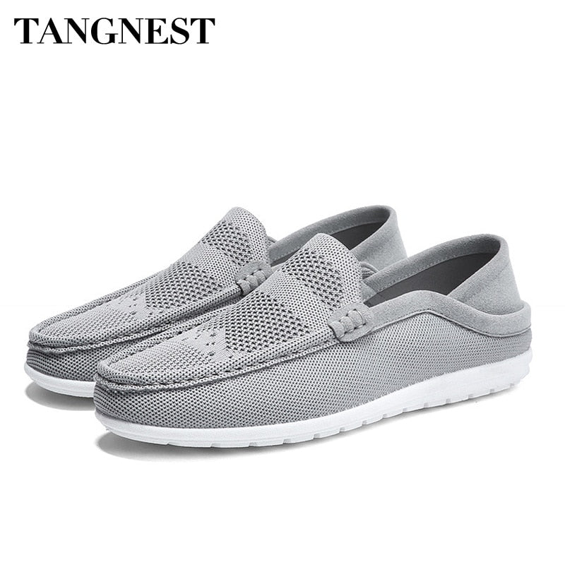Tangnest Spring Summer Men Mesh Shoes Breathable Casual Flat Shoes Light Loafers Comfortable Fashion Lazy Men Shoes XMR2783