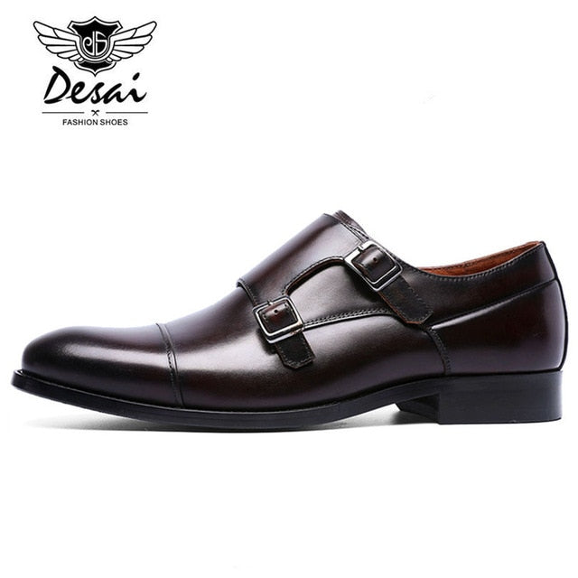 DESAI Brand Genuine Leather Double Buckles Men's Dress Shoes Formal Men Monk Shoes Oxford Shoes For Men Wedding Dress