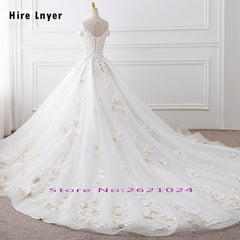 HIRE LNYER Custom Made Short Sleeve Open Back Beading Crystal Flowers Princess Ball Gown Wedding Dresses With Petticoat 2019