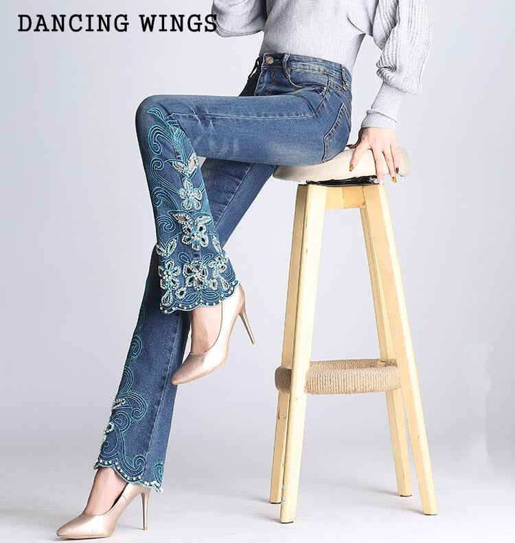 High waist ethnic embroidered bell-bottoms hand-beaded micro-pull jeans plus size female embroidery trousers