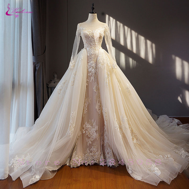Waulizane Chic Organza Bridal Gowns Exquisite Embroidery Appliques O-Neck 2 In 1 Detachable Train Wedding Dress Customize Made