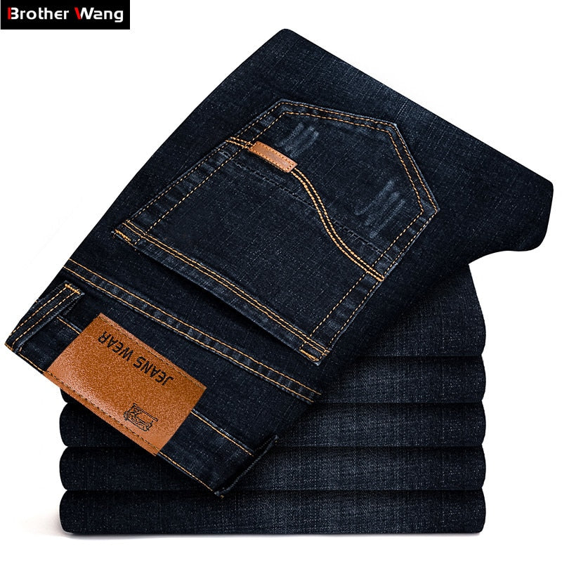 Brother Wang Brand 2018 New Men's Black Jeans Business Fashion Classic Style Elastic Slim Trousers Jeans Male 108