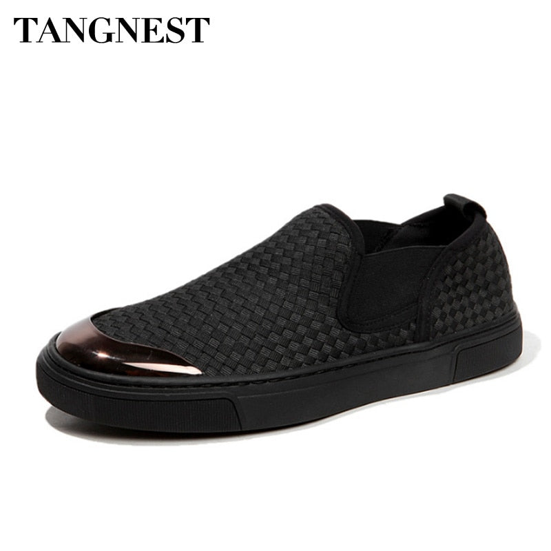 Tangnest New Men Canvas Shoes Spring Summer Breathable Woven Shoes Comfortable Loafers Lazy Men Casual Flats XMR2822