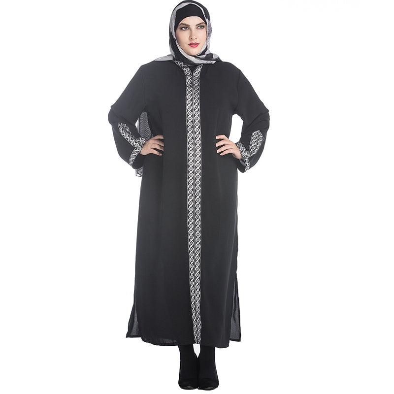 2018 Autumn Muslim Abayas for Women Hooded Robe Plus Size 7XL Islamic Jilbabs and Abayas Sexy Split Dress Arab Womens Clothing