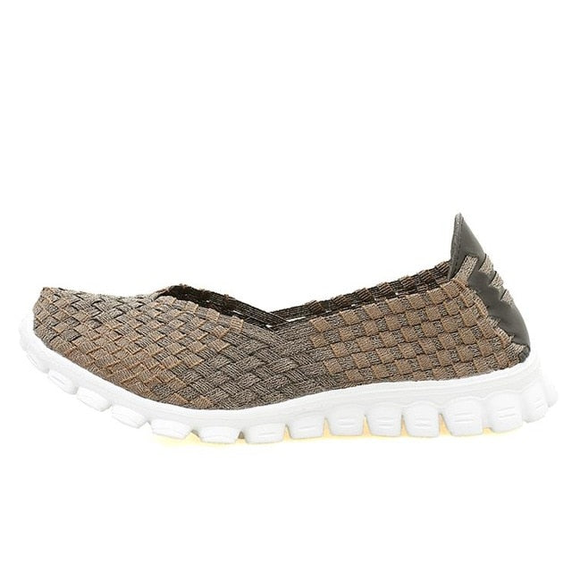 2017 new hollow fabric shoes female flying net air movement hand weaving increased thick shoes elastic woven belt  sport shoe