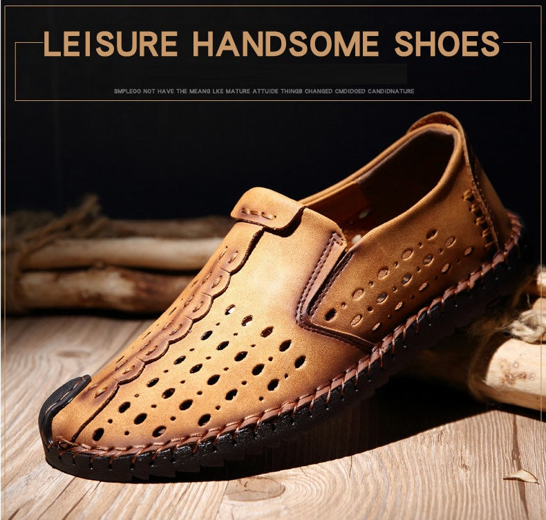 Merkmak Breathable Hole Summer Leisure Loafers for Men Hollow Out Beach Casual Shoes Soft Comfortable Driving Footwear Moccasins