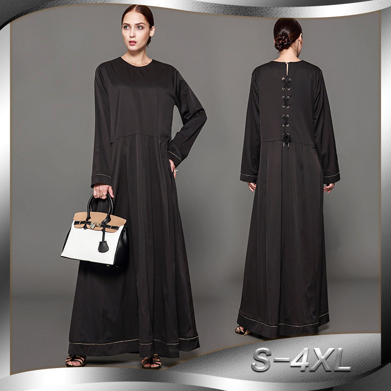 2018 Women Muslim Abaya O Neck Long Sleeve 4XL Plus Size Black Dubai Abaya Dress Patchwork Middle East Robe islamique femme