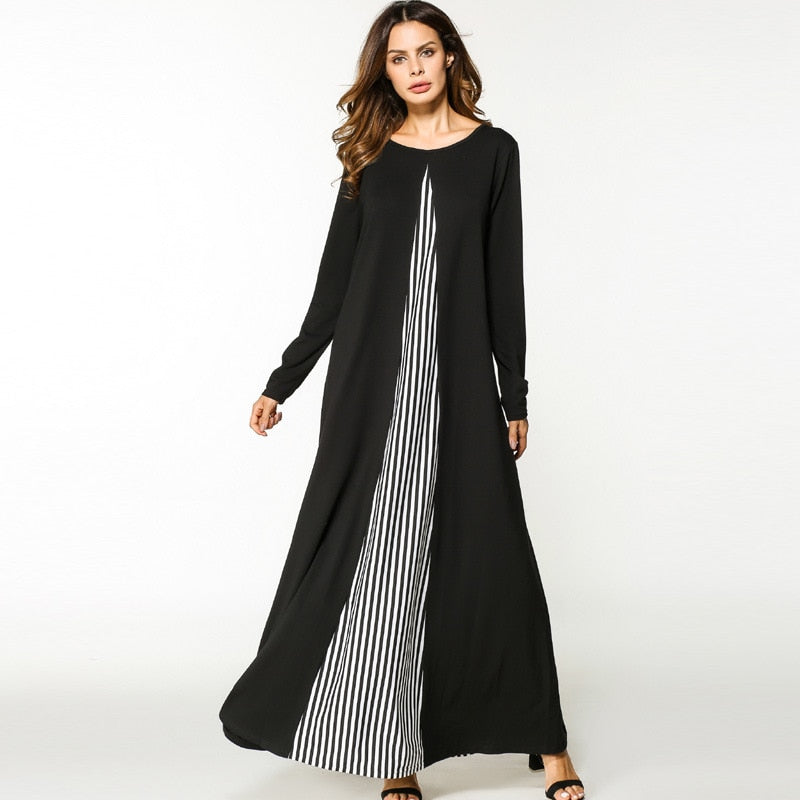 2018 Women Muslim Dress O Neck Long Sleeve Plus Size XXL Patchwork Striped Abaya Hijab Dress Black Robe Musulmane Abaya Dubai