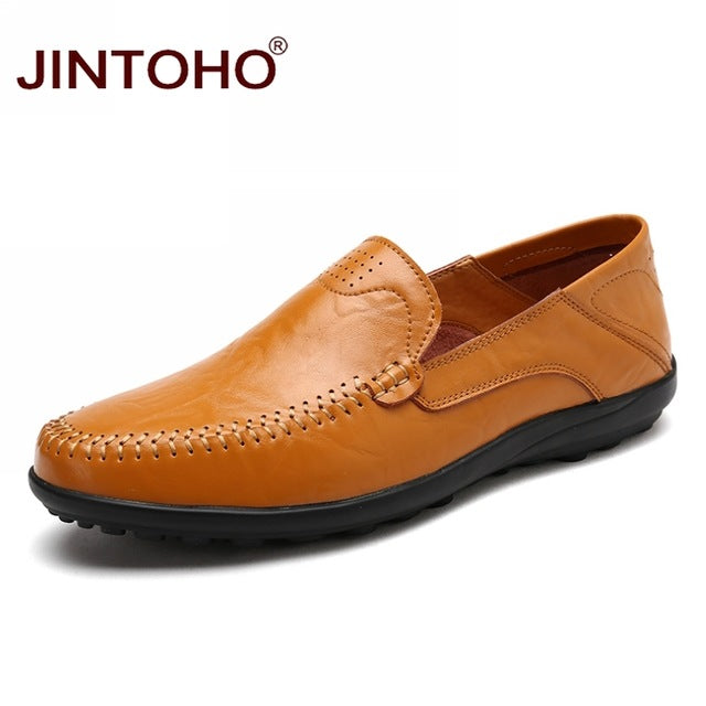 JINTOHO Men Casual Leather Shoes Brand Men Boat Shoes Fashion Men Genuine Leather Shoes Slip On Men Loafers Male Leather Shoes