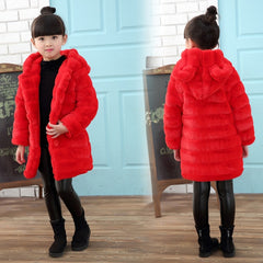 Girl's Winter Imitation Fur Coat 2018 Girls Thick Fluff Warm Coat Children Baby Clothes Kid Thick Plus Velvet Coat Wholesale