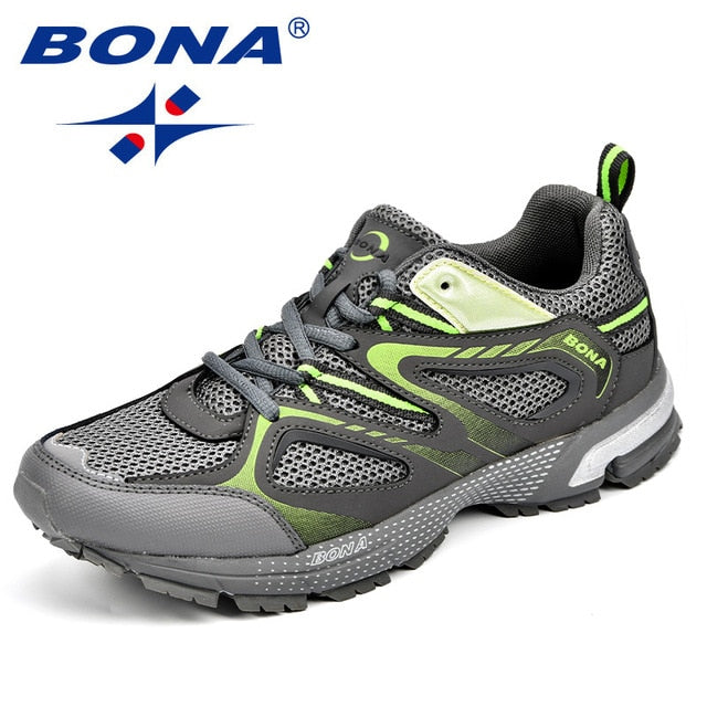 BONA New Arrival Classics Style Men Running Shoes Cow Split Mesh Men Sport Shoes Lace Up Outdoor Jogging Shoes Free Shipping