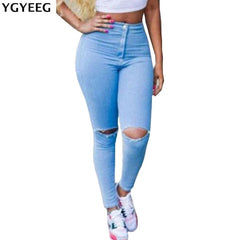 YGYEEG Hot Sale Push Up Jeans Woman Pencil Pants Vintage High Waist Jeans Women Casual Stretch Skinny Jeans Femme Holes Sky blue