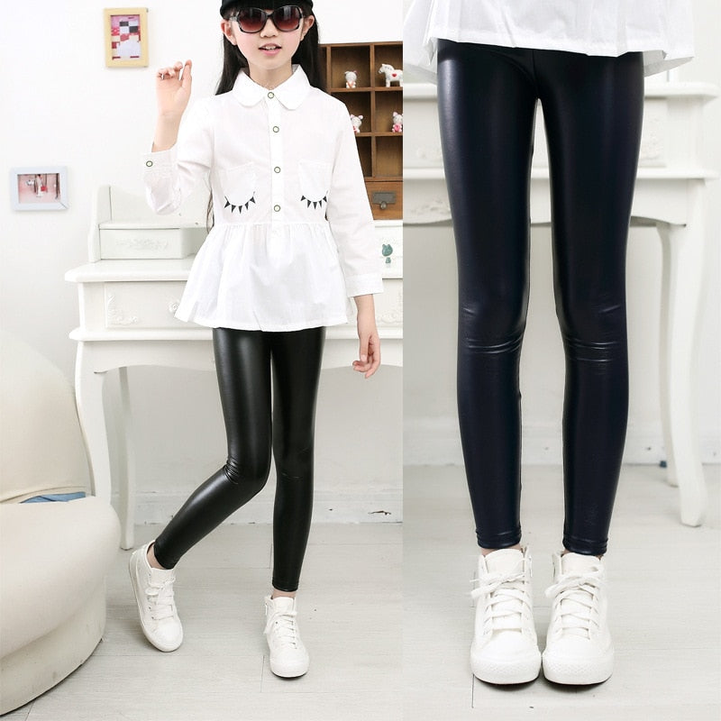 2018 Spring New Children Clothing Baby Girls Pu Leather Pants Leggings Girl Autumn Legging Kids Flower Warm Thin Slim Trousers