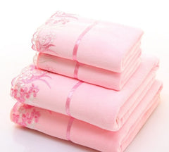 2pcs/set Microfiber Elegant Embroidered Towel Sets Solid 1pc Face Towel and 1pc Bath Towel Quick Dry Towels Bathroom for Adult
