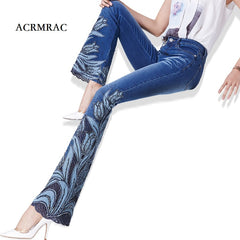 ACRMRAC woman embroidery Beads micro folk-custom Lace edge High waist Elasticity Slim Flare Pants jeans Women