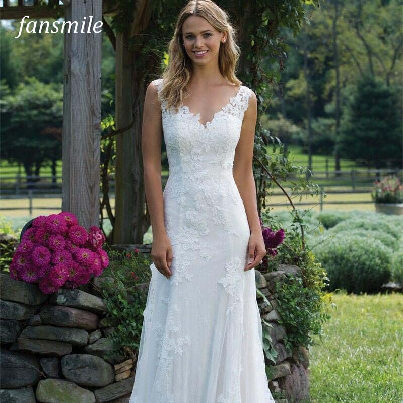 Fansmile New Vestido De Noiva White Lace Mermaid Wedding Dress 2018 Train Plus Size Customized Wedding Gown Bride Dress FSM-466M