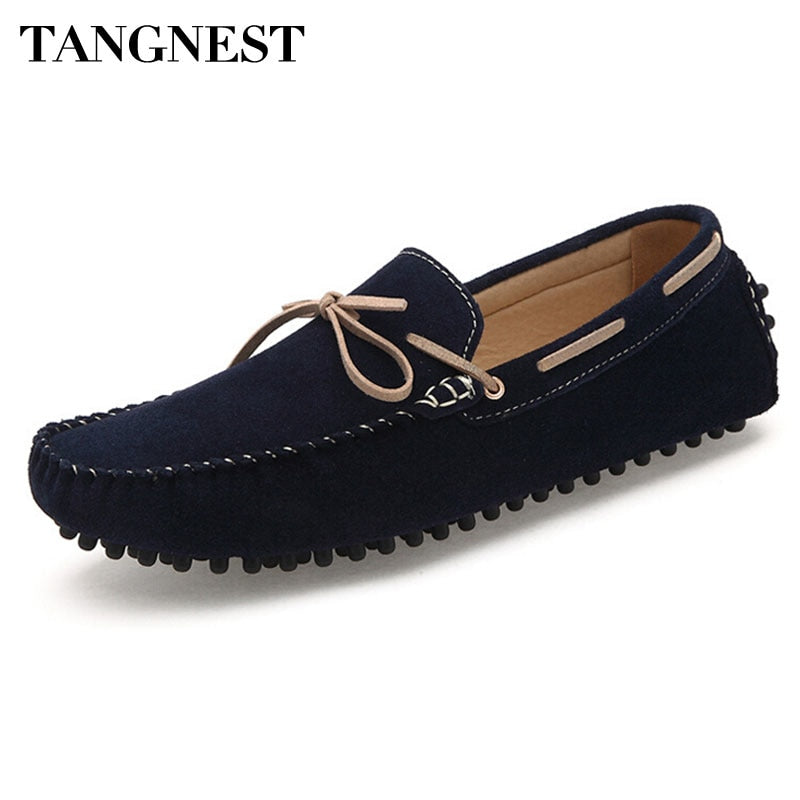 Tangnest Men Flat Shoes 2019 New Square Toe Men Loafers Soft Leather Comfortable Men Shoe Driving Shoes Man Size 39~47 XMR1675
