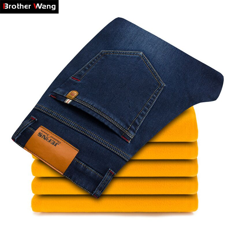 2018 Winter New Men's Warm Jeans Business Casual Elasticity Thick Slim Denim Pants Brand Trousers Black Plus Size 40 42 44 46