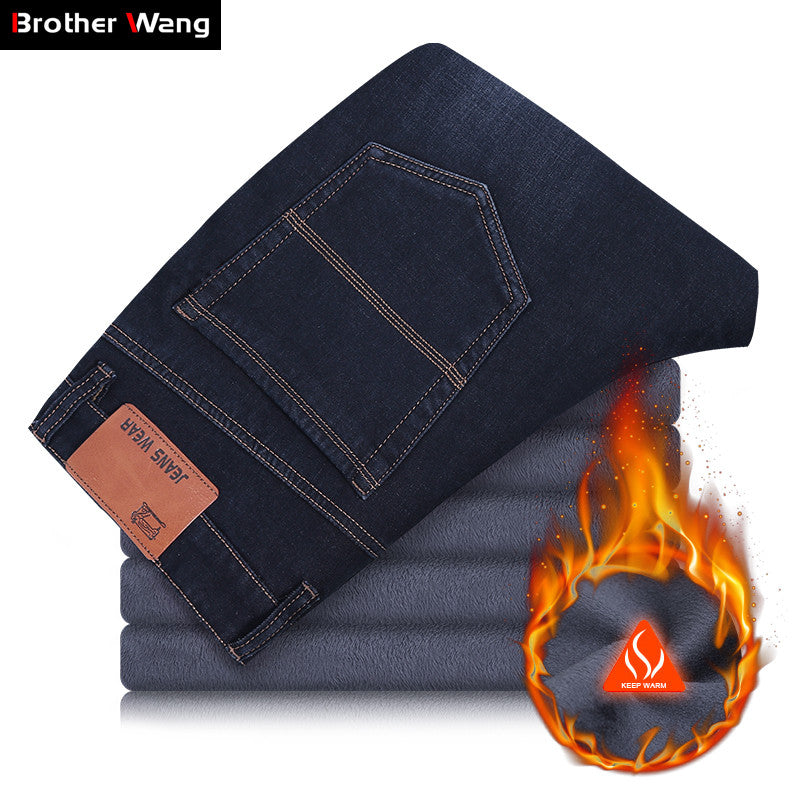 2018 New Winter Warm Plus Size Jeans Men Business Casual Denim Elastic Trousers Fleece Thick Straight Black Pants Male Brand