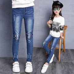 Girls Jeans Hole Lovely Cat Kids Pants Casual Slim Thick Velvet Trousers Children Clothes Brand 2-15 Year Plus Size Denim Pants