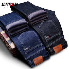 High Quality winter Warm Men's Jeans thick Stretch Denim Jeans Straight Fit Trousers male Cotton Pants men Large size40 42 44 46