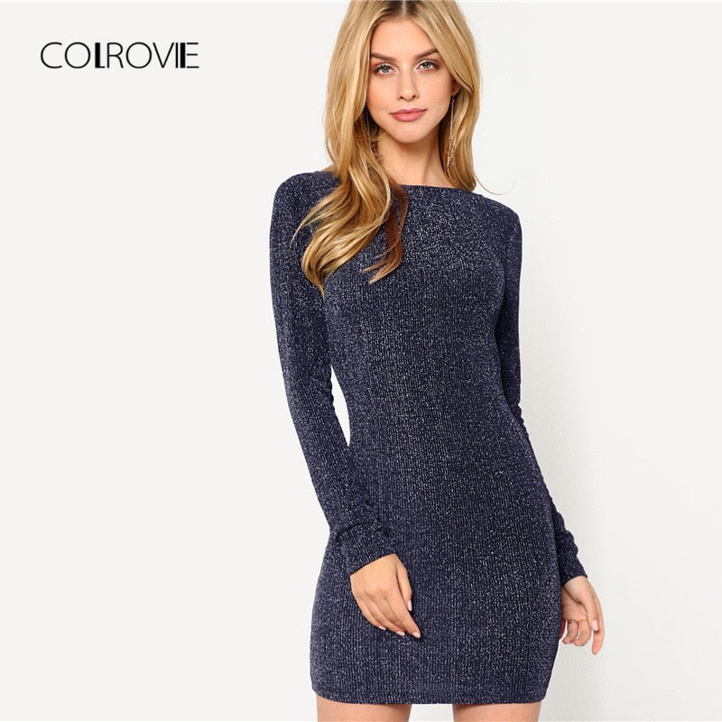 COLROVIE Navy Solid Backless Low Back Ribbed Glitter Sexy Dress Women 2018 Autumn Long Sleeve Party Dress Evening Mini Dresses