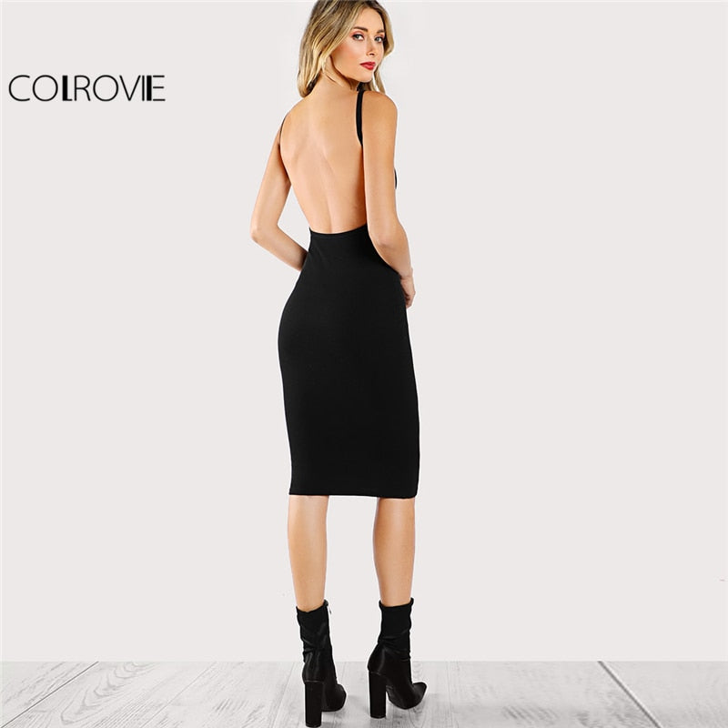 COLROVIE Black Sexy Backless Low Back Pencil Summer Dress 2018 Solid Evening Bodycon Club Dress Short Dress Party Women Dress